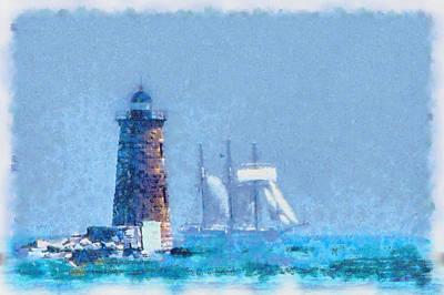 Photograph - White Sail Of Schooner At Whaleback Light by Jeff Folger