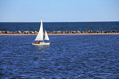 Photograph - White Sailboat by Angela Murdock
