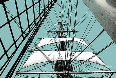 White Sails At Dawn Art Print by Linda  Parker