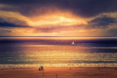 Photograph - White Sails In Red Sunset by Gene Parks