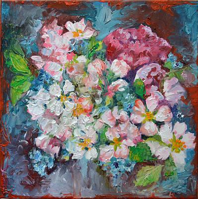 Sakura Painting - White Sakura - Floral Cherry Tree Blossom Oil Color Painting by Soos Roxana Gabriela