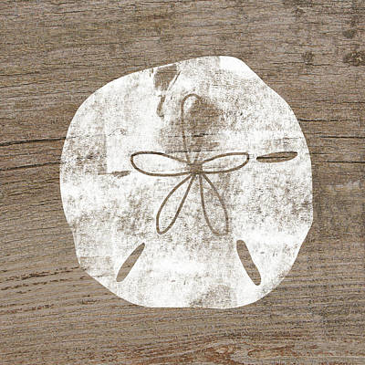White Sand Dollar- Art By Linda Woods Art Print by Linda Woods