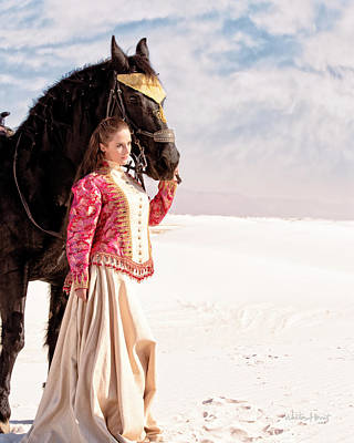 Photograph - White Sands Horse And Rider #2a by Walter Herrit