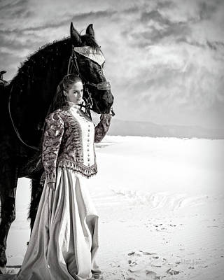 Photograph - White Sands Horse And Rider #2c by Walter Herrit