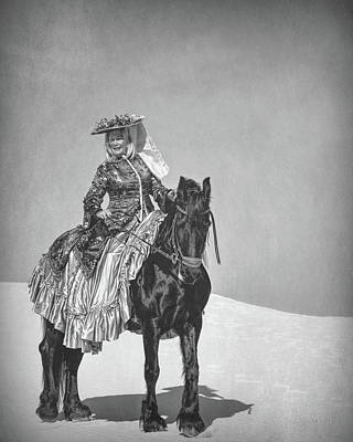 Photograph - White Sands Horse And Rider #3b by Walter Herrit