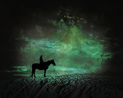 Digital Art - White Sands Horse And Rider #4a by Walter Herrit