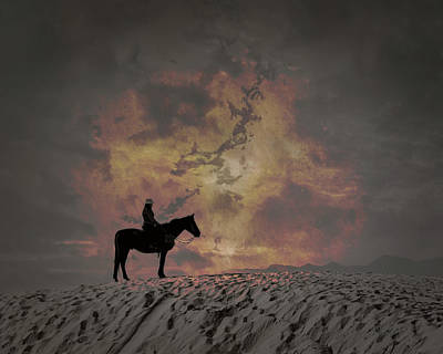 Digital Art - White Sands Horse And Rider #4b by Walter Herrit