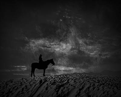 Photograph - White Sands Horse And Rider #4d by Walter Herrit