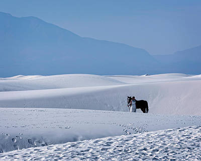 Photograph - White Sands Horse And Rider #5b by Walter Herrit