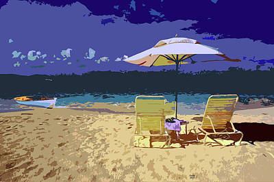 Row Boat Mixed Media - White Sandy Beach by Charles Shoup