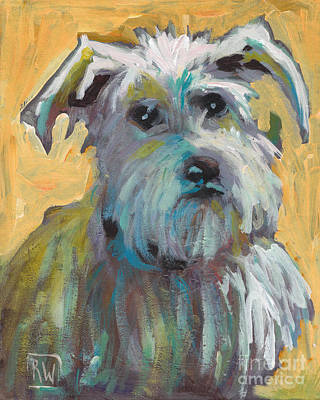 Loose Painting - White Schnauzer by Robin Wiesneth