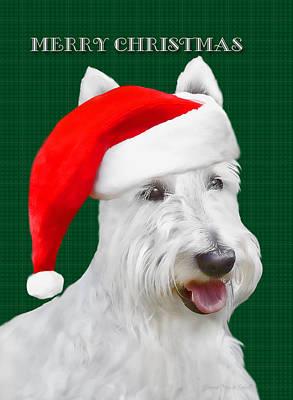 Scottish Dog Photograph - White Scottish Terrier Christmas Plaid by Jennie Marie Schell