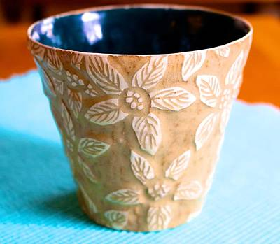 Ceramic Art - White Sgraffito Pointsetta   by Polly Castor