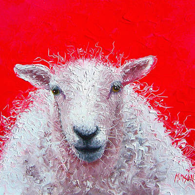 White Sheep Art Print by Jan Matson
