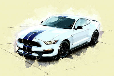 Ford Mustang Painting - White Shelby Mustang Cobra by Elaine Plesser