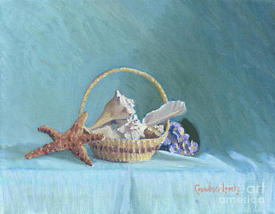 Painting - White Shells On Blue by Candace Lovely