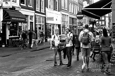 White Shirts In Amsterdam Mono Art Print by John Rizzuto
