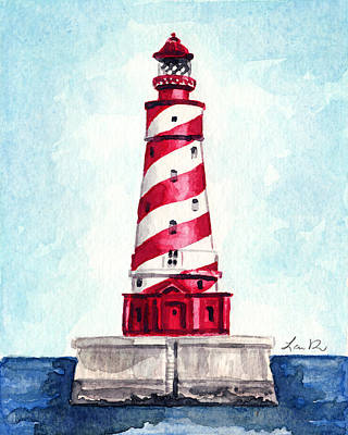Lighthouse And Sailboat Painting - White Shoal Lighthouse Michigan Nautical Light House Red And White Candycane Stripes by Laura Row