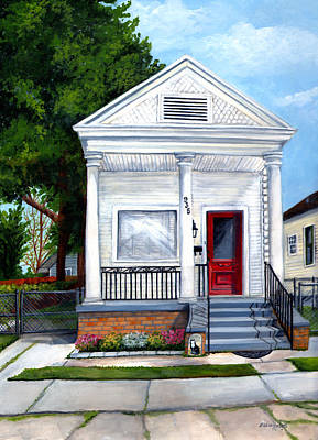 Residential Painting - White Shotgun House by Elaine Hodges