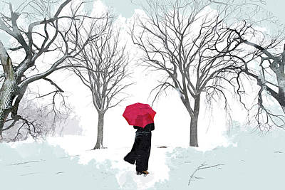Snowy Trees Painting - White Snow Grey Sky And Red Umbrella by Elaine Plesser