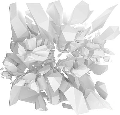 White Solid Structure Bursting 3d Render Art Print