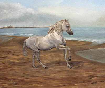 Tame Painting - White Spanish Horse by Angeles M Pomata