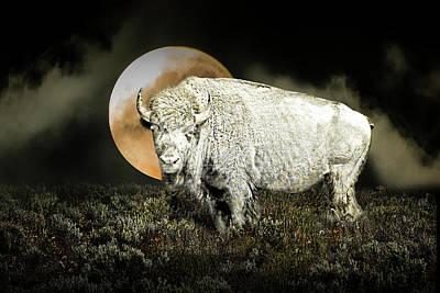 Randall Nyhof Royalty Free Images - White Spirit Buffalo and Moon Royalty-Free Image by Randall Nyhof