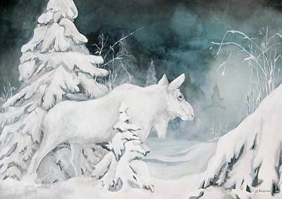 White Spirit Moose Art Print by Nonie Wideman
