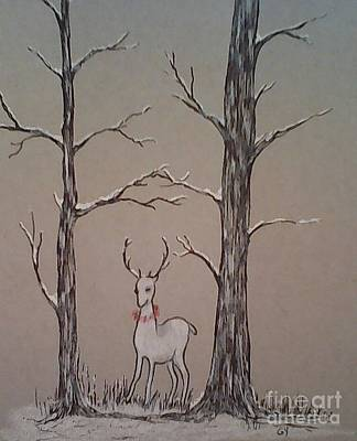 Drawing - White Stag by Ginny Youngblood
