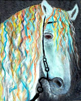 Painting - White Stallion by Anne Sands