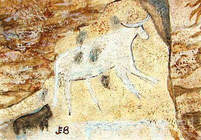 Steer Painting - White Steer - Cave Drawing 7 by John Burch