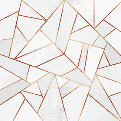 Geometric Digital Art - White Stone And Copper Lines by Elisabeth Fredriksson