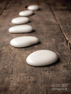 Old Plank Tables Photograph - White Stones On Wood by Andreas Berheide