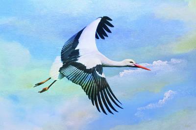 Stork Mixed Media - White Stork by KaFra Art