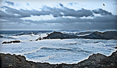 Photograph - White Storm And Lighthouse by Pedro Cardona