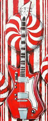 Painting - White Stripes Guitar by John Gibbs