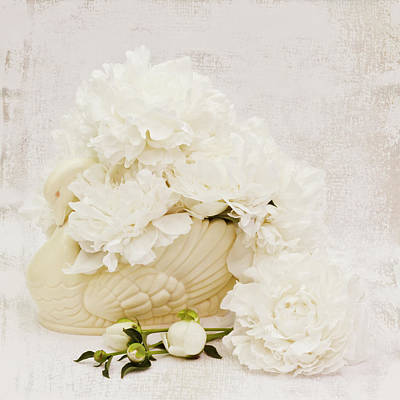 Photograph - White Swan Filled With Peonies  by Sandra Foster