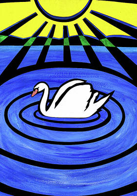 Mixed Media - White Swan by Roseanne Jones