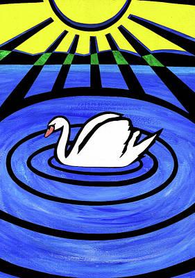 Mixed Media - White Swan by Roseanne Jones