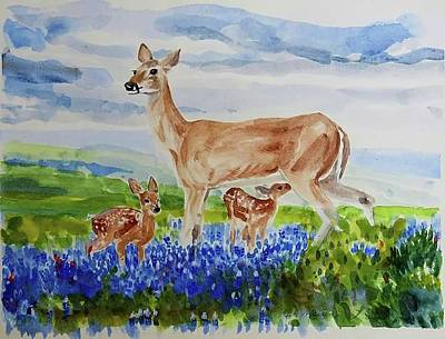 Mike Martin Painting - White Tail Bluebonnets by Mike Martin