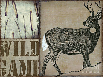 Wild Turkey Painting - White Tail Deer Wild Game Rustic Cabin by Mindy Sommers