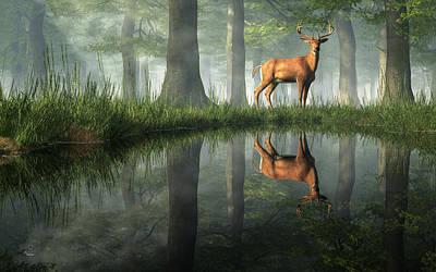 Digital Art - White Tailed Deer Reflected by Daniel Eskridge