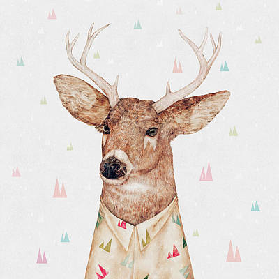 White Tailed Deer Square Print by Animal Crew