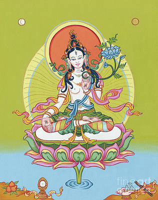 Iconography Painting - White Tara by Carmen Mensink