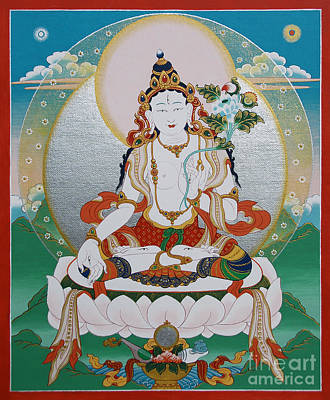 Painting - White Tara Chintamani Sita Tara by Sergey Noskov