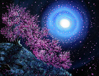 Sakura Painting - White Tara In Cascading Sakura by Laura Iverson