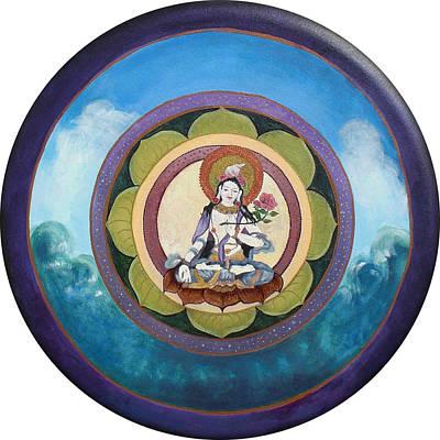 White Tara Mandala Art Print by Jo Thompson