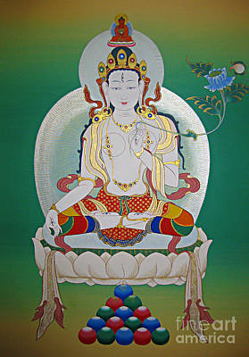 Painting - White Tara by Sergey Noskov