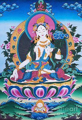 Tibetan Buddhism Photograph - White Tara Thangka by Tim Gainey