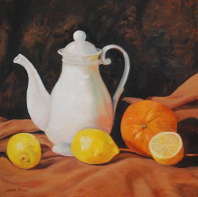 White Teapot Art Print by Jean Peace